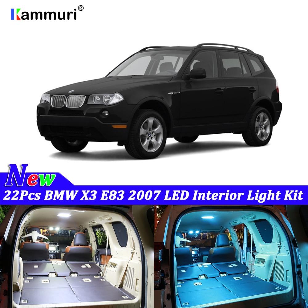 22 pièces Blanc Canbus LED lumières intérieures de Voiture de Paquet pour BMW E83 X3 2007 Sans erreur LED lumière intérieure Kit