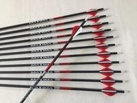 12pcs Archery carbon arrow 3K weave spine340 ID6.2mm arrow shaft plastic vane arrow nock field point arrowhead for compound bow