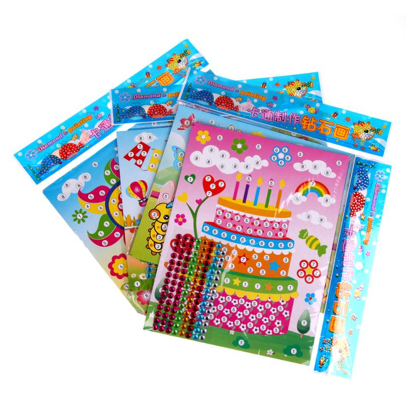 2pcs/set Kids Painting Mosaic Puzzle Toys DIY Diamond Stickers Handmade Crystal Paste Toys Kids Child Stickers Toy Random Color