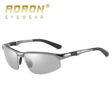 AORON Photochromic Aluminum Magnesium Frame Sunglasses Mens Brand Polarized Discoloration Goggle Male Anti Glare Fashion Glasses
