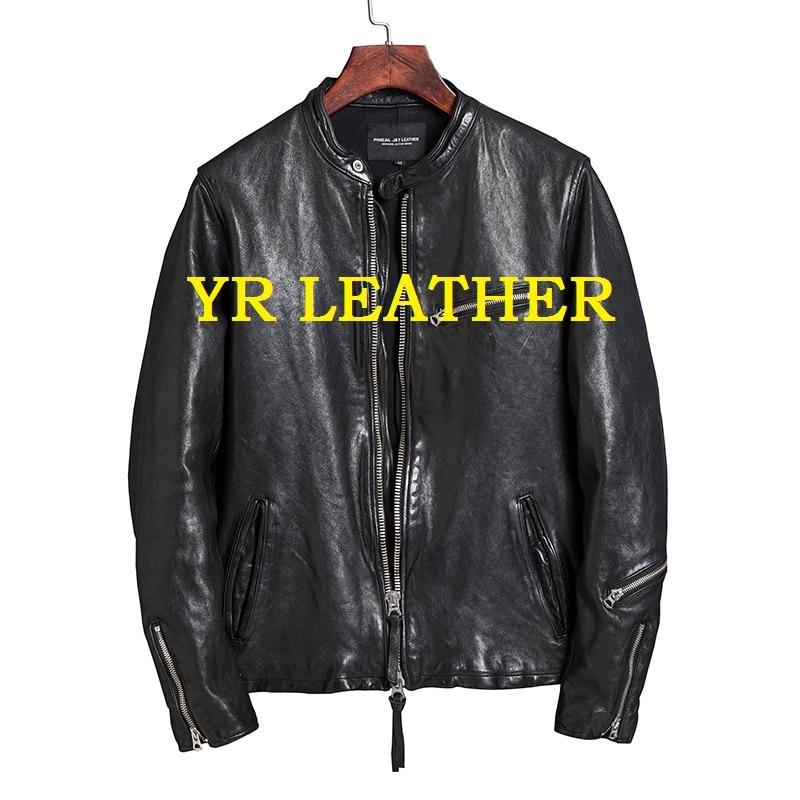 YR!Free Shipping.Pakistan.Brand Luxury Japan Style 0.8-1mm Sheepskin Jacket,mans Fashion Slim Tanning Genuine Leather Coat