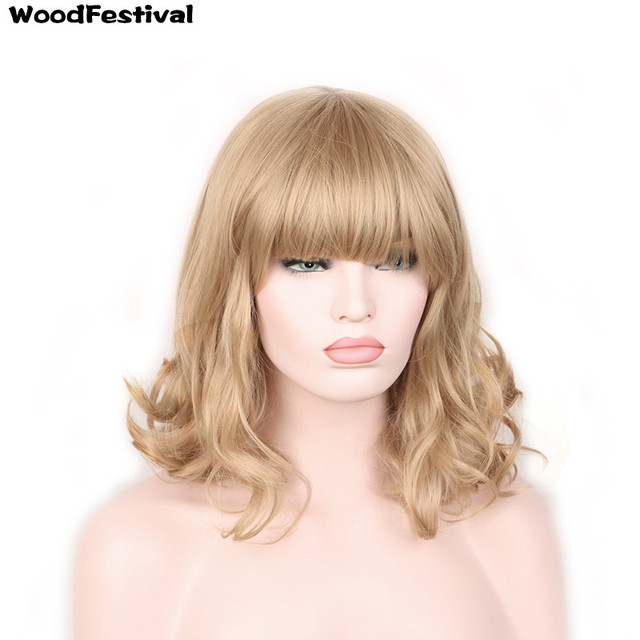 WoodFestival dark light brown black blonde heat resistant curly synthetic  wigs with bangs short hair 8158cdbde370