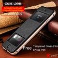 Бренд класса люкс натуральная кожа окно case для apple iphone 6 плюс фолио флип + алюминиевая рама телефон мешки обложка для iphone 6 4.7/5.5