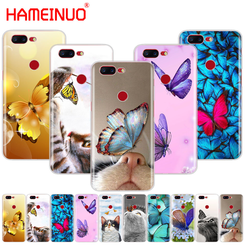 HAMEINUO Butterfly Stand On The Cat Nose cover phone case for Oneplus one plus 6 5T 5 3 3t 2 X A3000 A5000