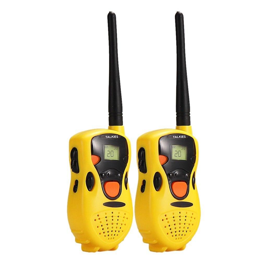 Paquete de dos Walkie Talkie de mano para niños juguetes educativos amarillo