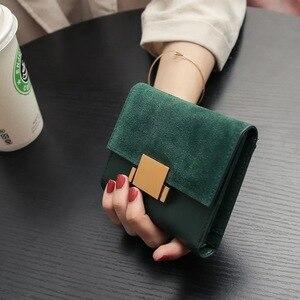 Image 2 - ארנק נשים עור פיצול לשפשף קטן ארנקי מיני ארנק מחזיק תעודת זהות ארנק ארנקי עור ירוק ליידי מצמד נקבה