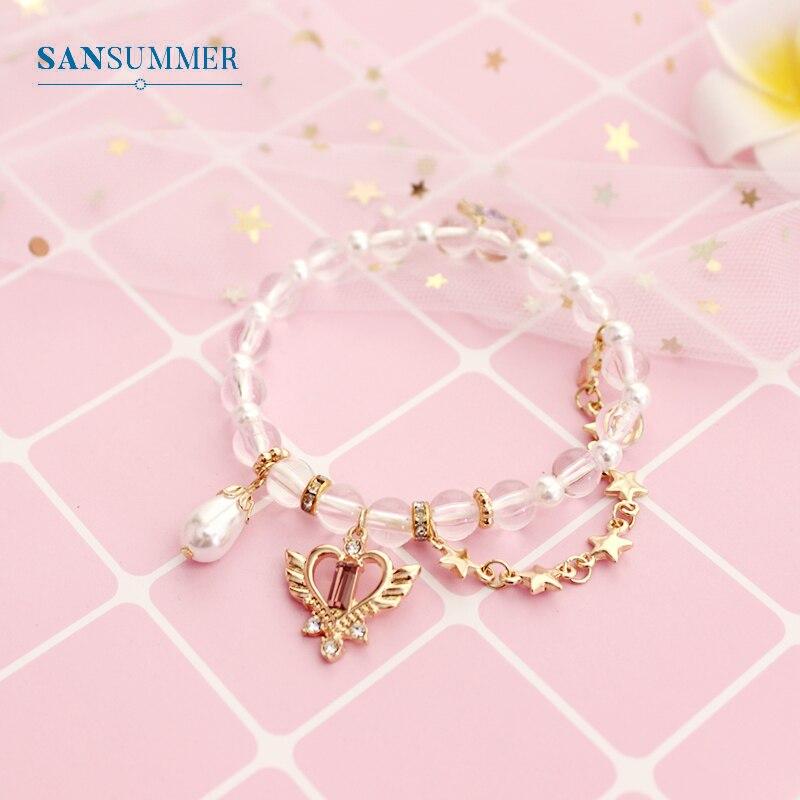 Sansummer Fashion Crystal Female Bracelet Love Stars Flower Bracelet Glamour Party Wedding Accessories Simple Jewelry 6794