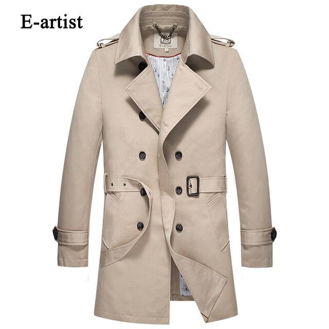 E-artista Longo dos homens Double Breasted Trench Coat com Cinto Masculino Slim Fit Business Casual Casacos Casacos Casacos sobretudo F14