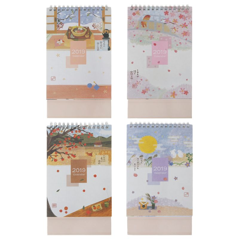 Initiative Japanese Style 2019 Desktop Standing Coil Paper Calendar Memo Daily Schedule Table Planner Year Agenda Organizer Paper Calendar Long Performance Life Calendars, Planners & Cards