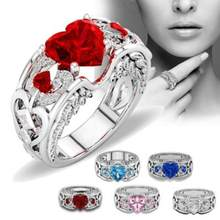 Stylish Silver Natural Ring Birthstone Bride Wedding Engagement Heart Rings Jewelry Accessory Beautiful Ring Ornaments Sets(China)