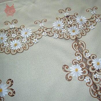 Pastoralen Stil Khaki Weiß Floral Stickerei Fertigen Tür Vorhang Halb-vorhang Kaffee Haus Dekoration Partition Vorhang SP3483