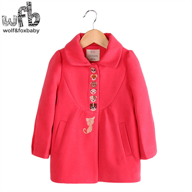 Retail 3-10 years coats full-sleeves cartoon animal solid color coats kids children clothing spring autumn fall