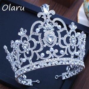 Olaru, Tiara nupcial vintage de lujo, corona de Reina grande cristalina, accesorios para el cabello de boda, diadema para concurso, adornos de cabello tocado