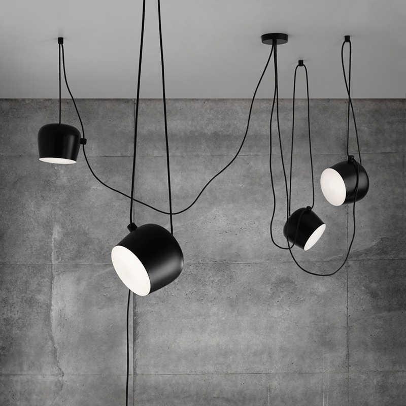 블랙 화이트 복제 펜던트 램프 커피 바 주방 레스토랑 램프 살롱 광택 서스펜션 산업용 로프트 빈티지 샹들리에