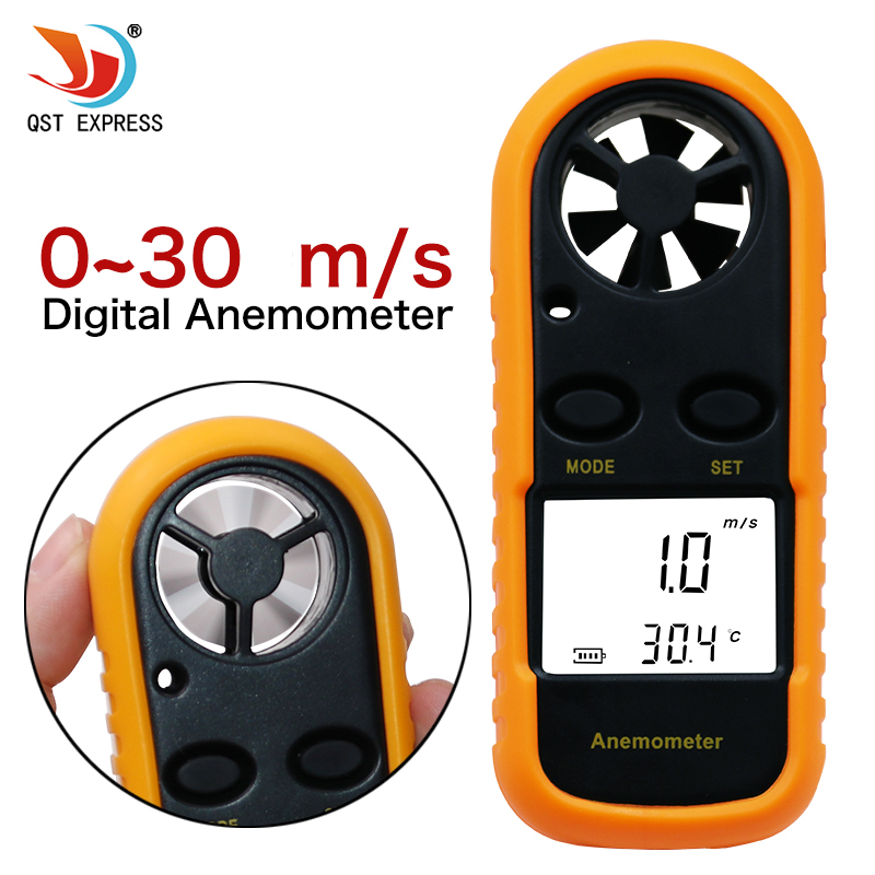 QSTEXPRESS Digital Anemometer 0-30m/s Wind Speed Meter -10 ~ 45C Temperature Tester Anemometro with LCD Backlight Display qstexpress digital anemometer 0 30m s wind speed meter 10 45c temperature tester anemometro with lcd backlight display