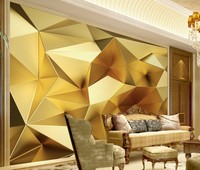 Free Shipping Luxurious Golden Geometric Polygon 3D Continental TV Backdrop Wallpaper Custom Mural Abstract Mural Painting