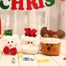 Cute Christmas Kids Gift Candy Storage Bag Santa Claus Snowman Elk Present Bags Xmas Party Decorations 1pc cute santa clap bracelet elk bracelet for kids christmas gift toys cute santa claus clap bracelet bracelet christmas gift