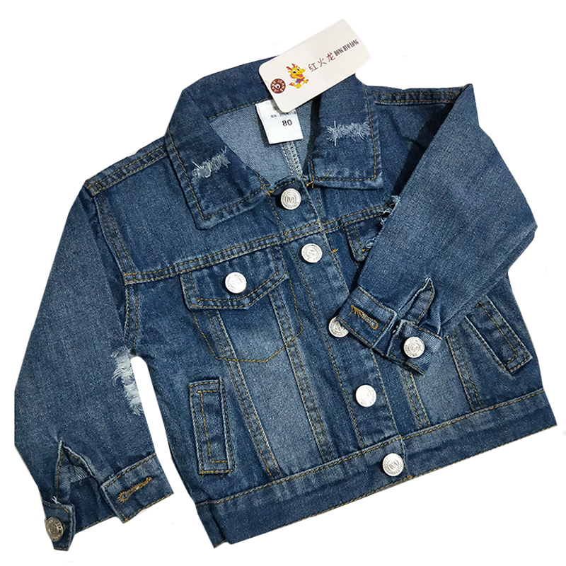 1-5Yrs Children's Jacket Denim Boys Broken Hole Jean Jackets Girls Kids Clothing Baby Coat Casual Outerwear 2019 Spring Autumn