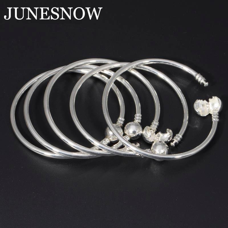 European Beads Charm Silver Plated Snake Chain 5Pcs/Lot DIY Charm Bracelet & Bangle Pandora Bracelet Jewelry for Women Gift