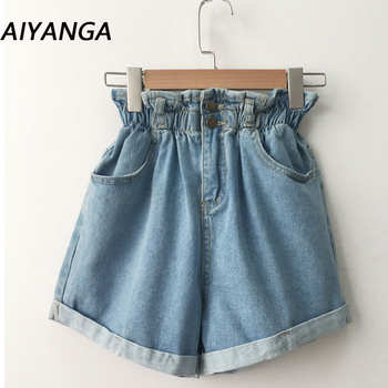 2018 Summer High Waist Denim Shorts Women Casual Loose Ladies Fashion Roll Up Hem Elastic Waist Pocket Blue White Jeans Female