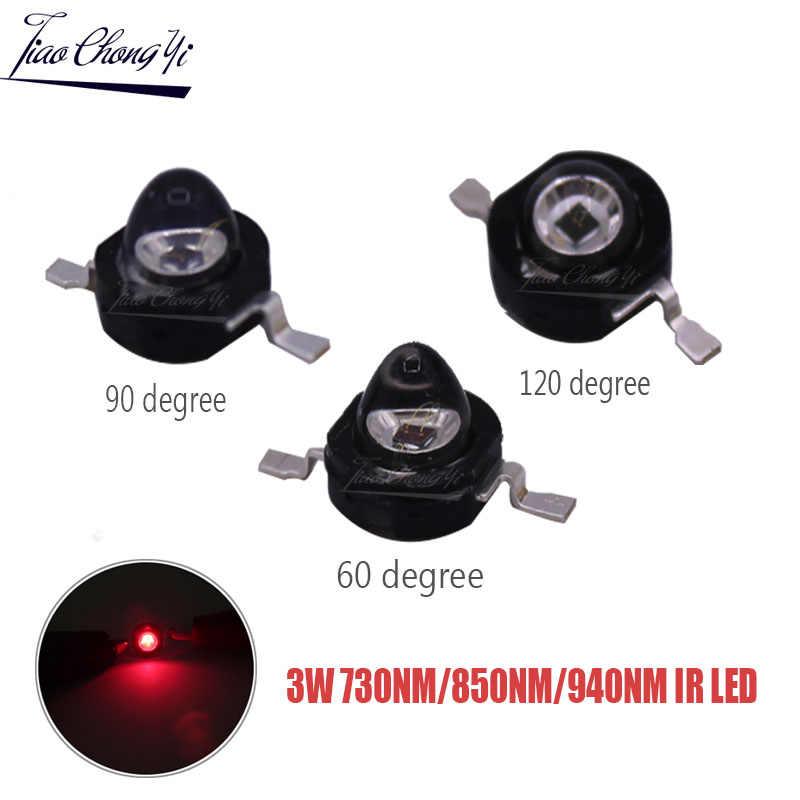 3Watt 3W wysoka dioda led dużej mocy 850nm 940nm 730nm 60 90 120 stopni podczerwieni LED IR dla noktowizor CCTV DIY