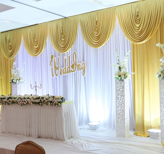 10ft(H) * 20ft(W) White Wedding Backdrop wedding Stage curtain with Gold Swag wedding decoration