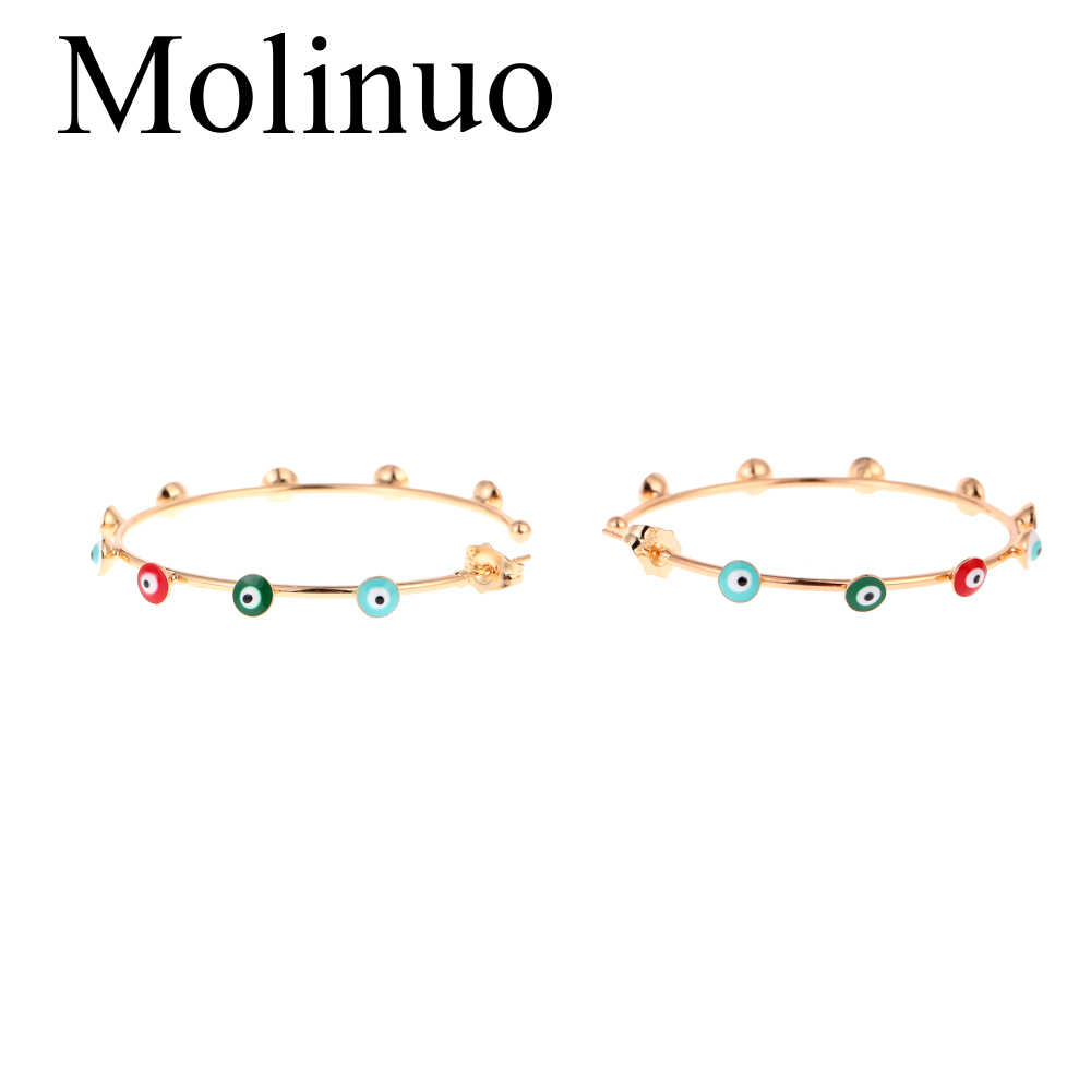 Molinuo, 48-50 мм, проложенные с цветом сглаза, золотые серьги-кольца, очаровательные богемные Великолепные женские ювелирные серьги 2019