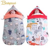 New Print Envelope for Newborns Winter Cotton Massage Baby Sleeping Bag Stroller Windproof Blanket Winter Bag for Baby Nest