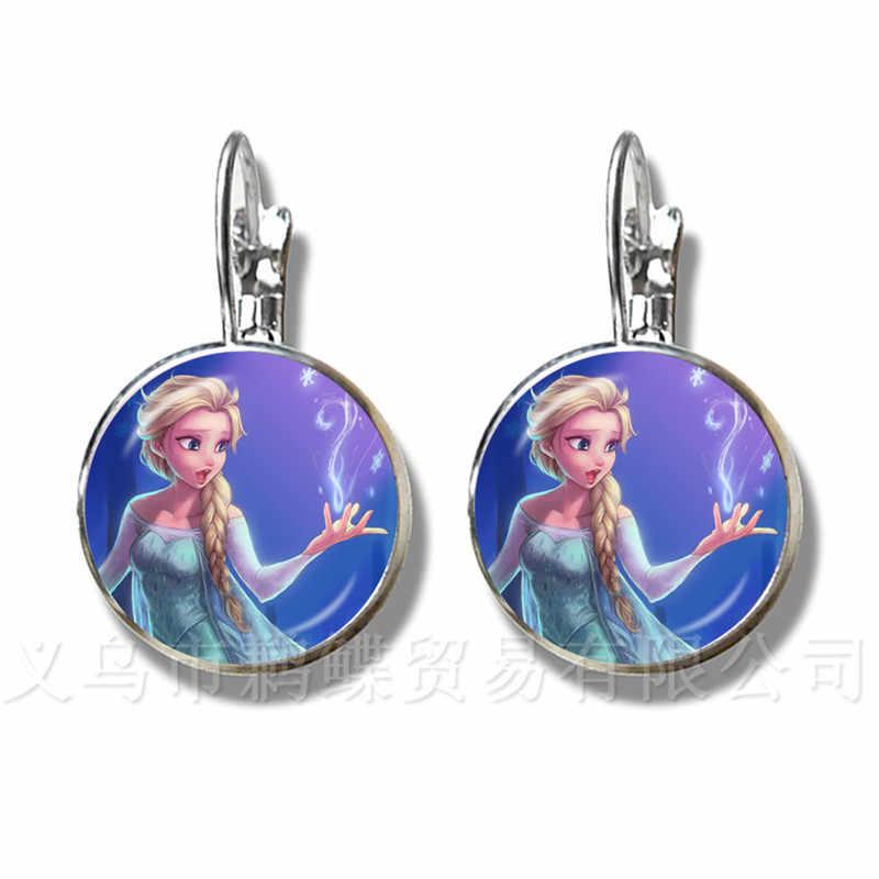 2018 ใหม่ Trolls ต่างหูการ์ตูนเครื่องประดับ 16 มม. Classes Silver Plated Stud ต่างหู Princess Elsa และ Anna ของขวัญ