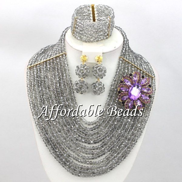 Gray Wedding Bridal Jewelry Set Hot Selling African Costume Jewelry New Arrival Free Shipping ABW122