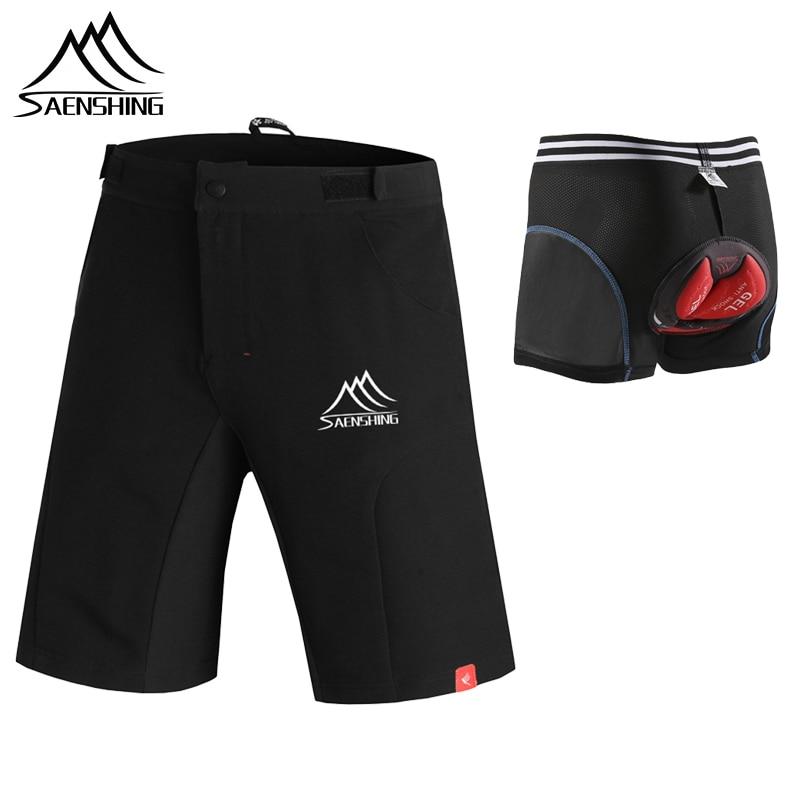 SAENSHING pantalones cortos de ciclismo hombres + Gel Pad ciclismo ropa interior acolchado MTB cortos de bicicleta de montaña bicicleta cuesta abajo de las Bermudas transpirable