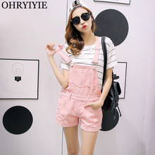 017bb560632d OHRYIYIE Summer Jumpsuit Denim Overalls For Womens 2018 Fashion Ripped Rompers  Playsuits Female Jean Shorts Strap