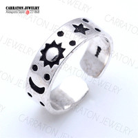 Vintage Silver Jewelry Retro Design Genuine 925 Sterling Silver Thai Silver Adjustable Moon Star Sun Ring