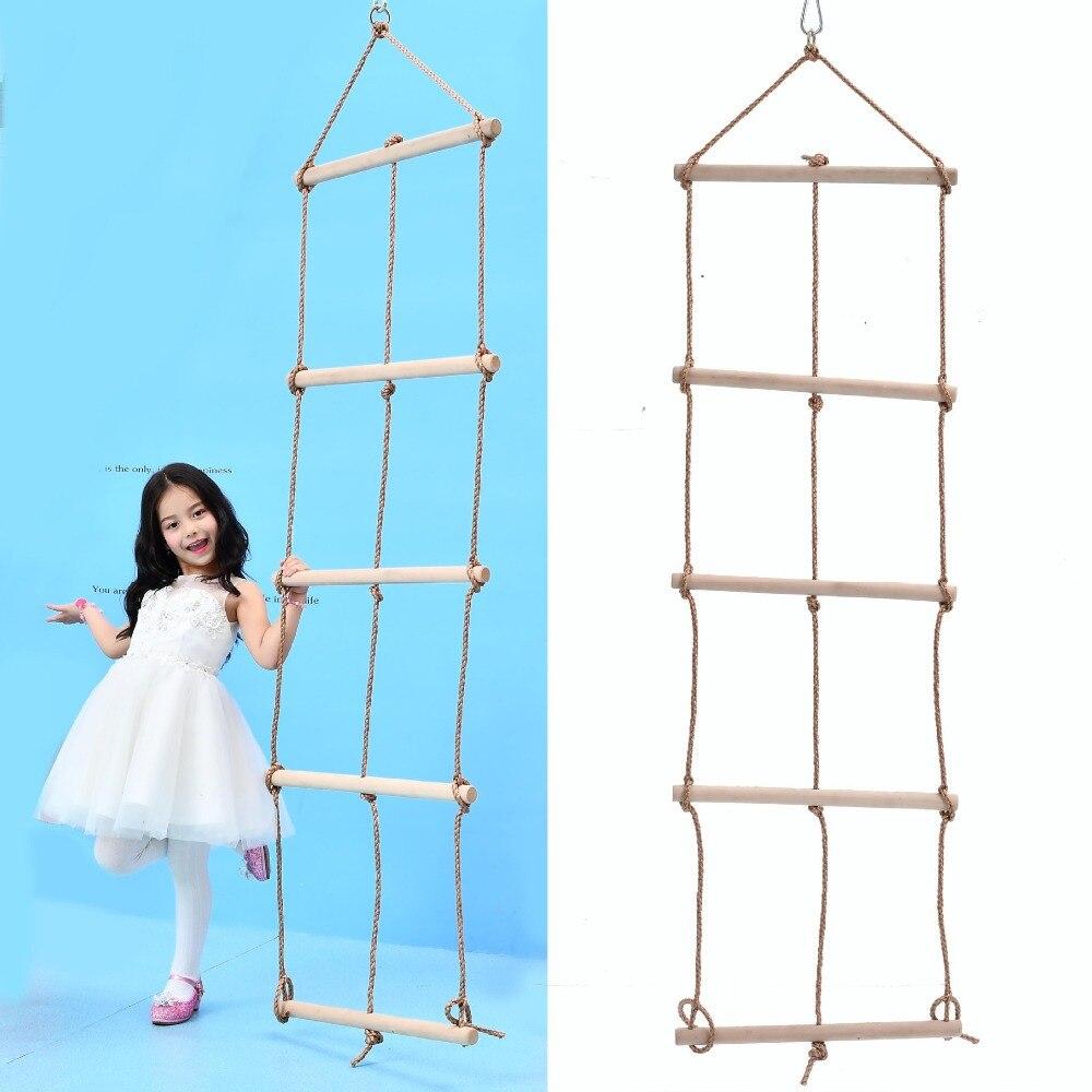 6 échelons en bois PE corde échelle enfants escalade corde enfants Sport corde Swing sûr Fitness jouets équipement intérieur extérieur jardin