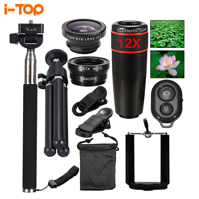 All in 1 Mobile Phone Lens Kit 12X Telephoto Zoom Lenses Fish eye Fisheye lentes For iphone 4 5 6 7 s 8 Plus Selfie Stick Tripod