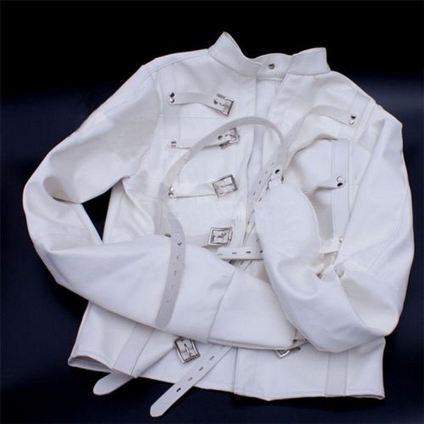 White Asylum Patient Straight Jacket Halloween Costume Unisex S M L XL Armbinder bondage set sex