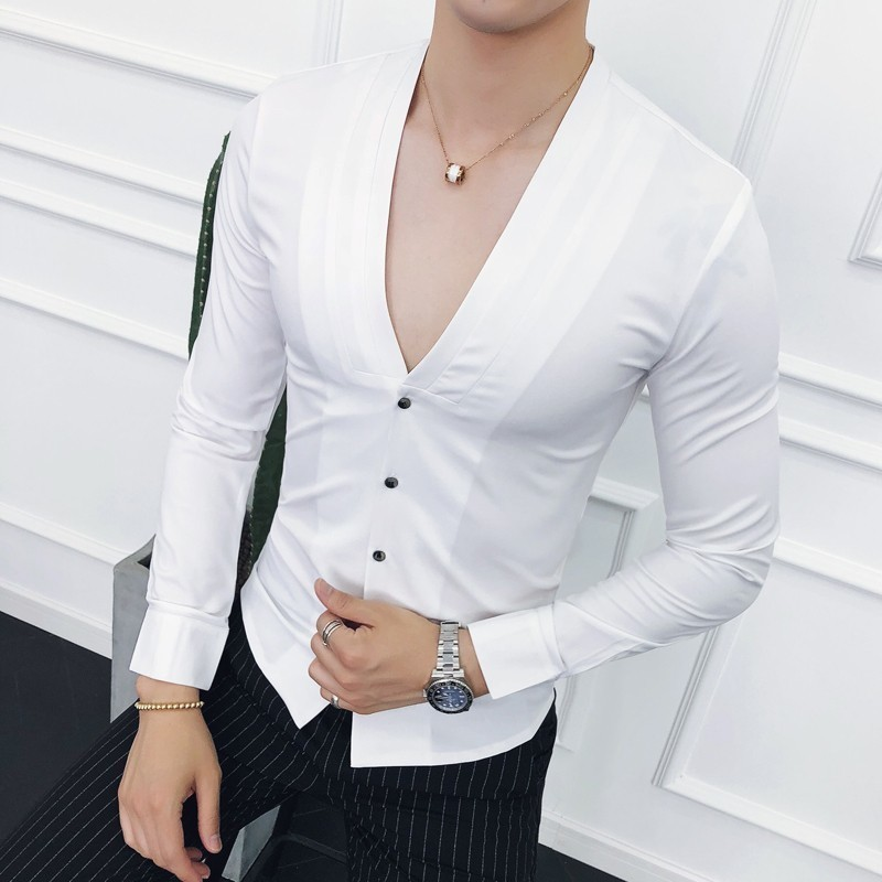 Deep V Sexy Collarless Shirt 2018 New Autumn Long Sleeve Slim Fit V Neck Pleating Solid Dress Shirt Camisa Masculina Wine Red