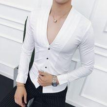 6dc868dc4a4 Глубокий V Сексуальная рубашка без воротника Новинка 2018 года осень с длинным  рукавом Slim Fit V