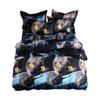 3D Black Cats Printed Bedding Set Single Double Bed Sets BS801 Duvet Cover Pillowcases Flat Sheet 3pcs 4pcs