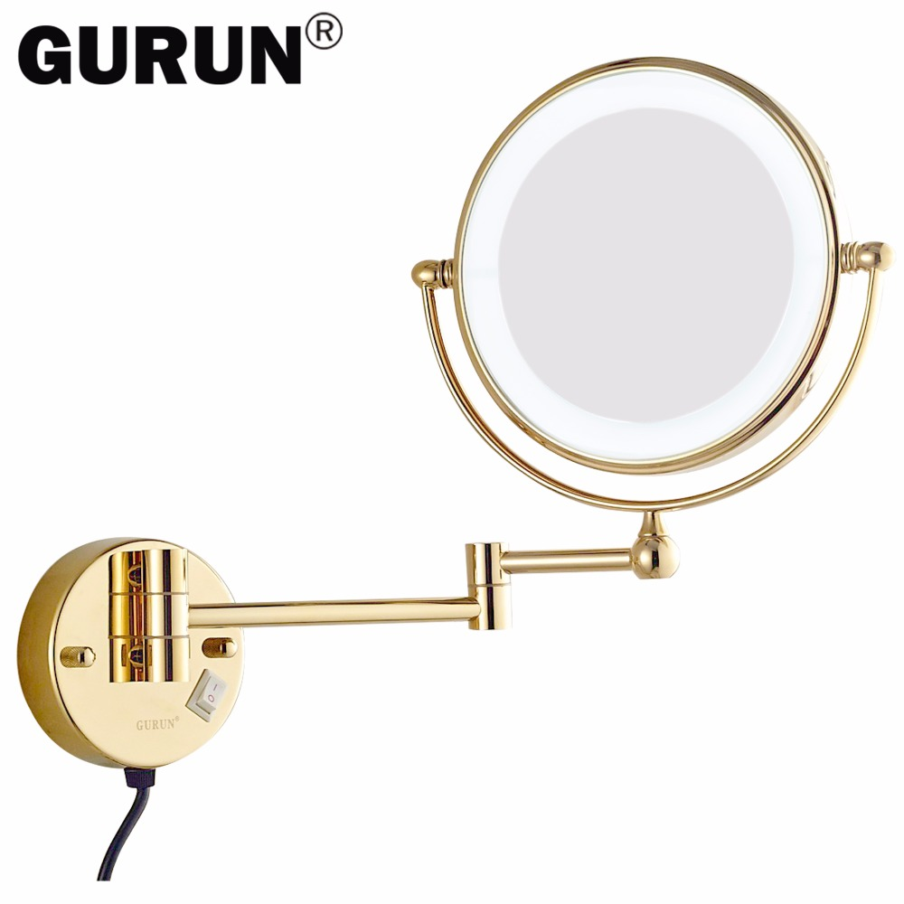 Mirror Light LED 5X 7X Amplification Effect Fixed To The Wall Bracket, Collapsible Circular Mirror Led Light M1805DJ