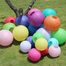 10 pcs/lot Colorful Chinese Paper Lanterns 6-8-10-12-14-16 inches for Wedding Event Party Decoration Holiday Supplies Ball
