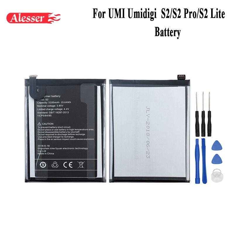 Alesser Para UMI Umidigi S2 S2 Pro S2 Lite Acumuladores de Bateria 5100 mAh 100% Novo Peças de Reposição Acessório Do Telefone Com ferramentas