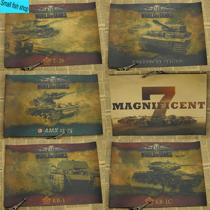 World of Tanks WOT A gather The Second World War Tank Home Furnishing decoration Kraft Game Poster Drawing core Wall stickers
