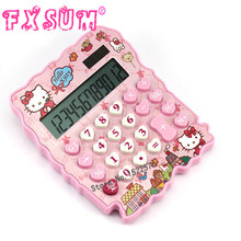 2017 Hello Kitty Mini Solar Calculator Cute KT Cat Cartoon Stationery Calculator Creative Gift