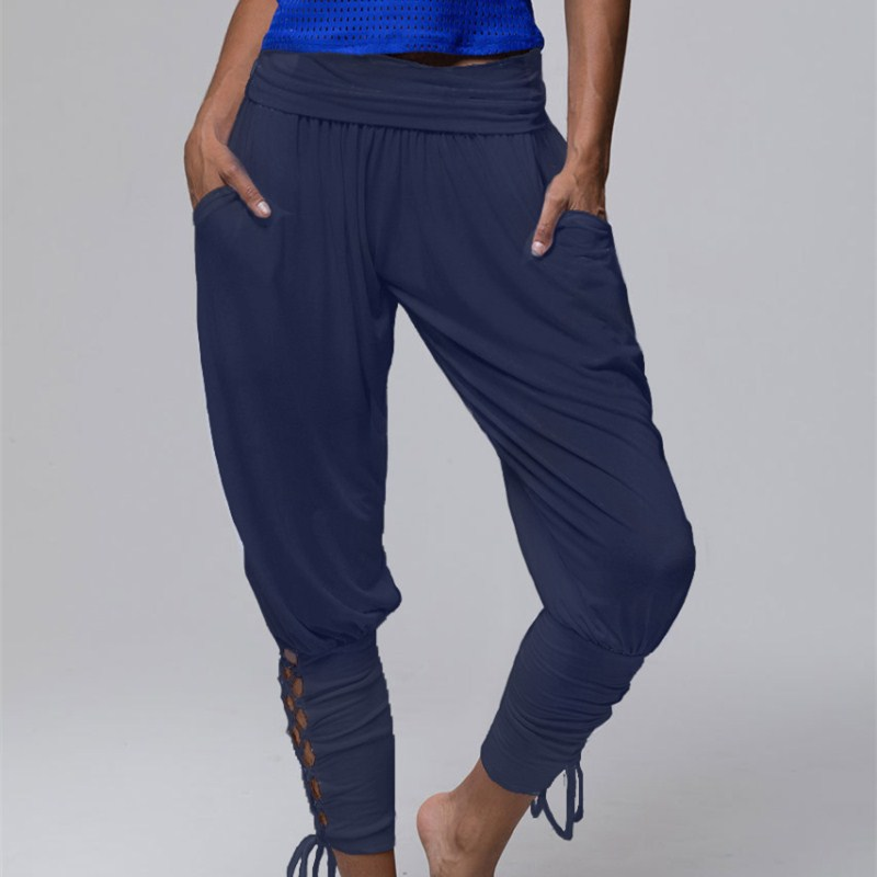 2018 Women Comfy Leggings Boho Harem   Pants   Loose Summer Lace-Up Solid High Waist Trousers Baggy   Pants