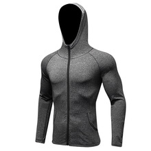Male Cap Hoodies sports Jerseys Compression Fitness sweater Gym tops outerwear Bodybuilding Sportswear running Jacket quick dry