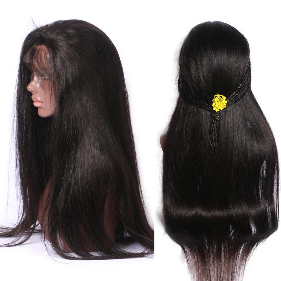 Luffy Preplucked Peruvian 180% Density Silky Straight 13x6 Deep Part - Mänskligt hår (svart) - Foto 4