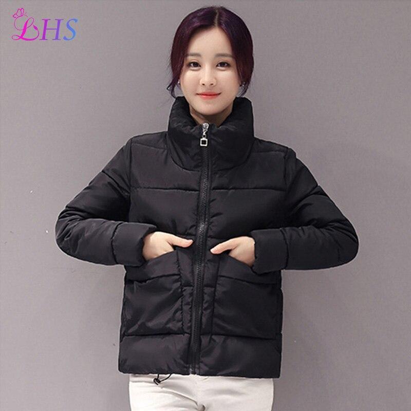 M-2XL Yeni 2016 Kış ceket Kadınlar Aşağı Coat Parka Siyah Femme Kısa Palto Sıcak Yüksek Yaka Pamuk Içinde Dış Giyim Windproof