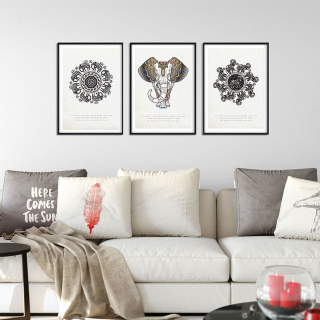 Unframed 3 panel black white elephant poster canvas painting for living room wall picture art printed