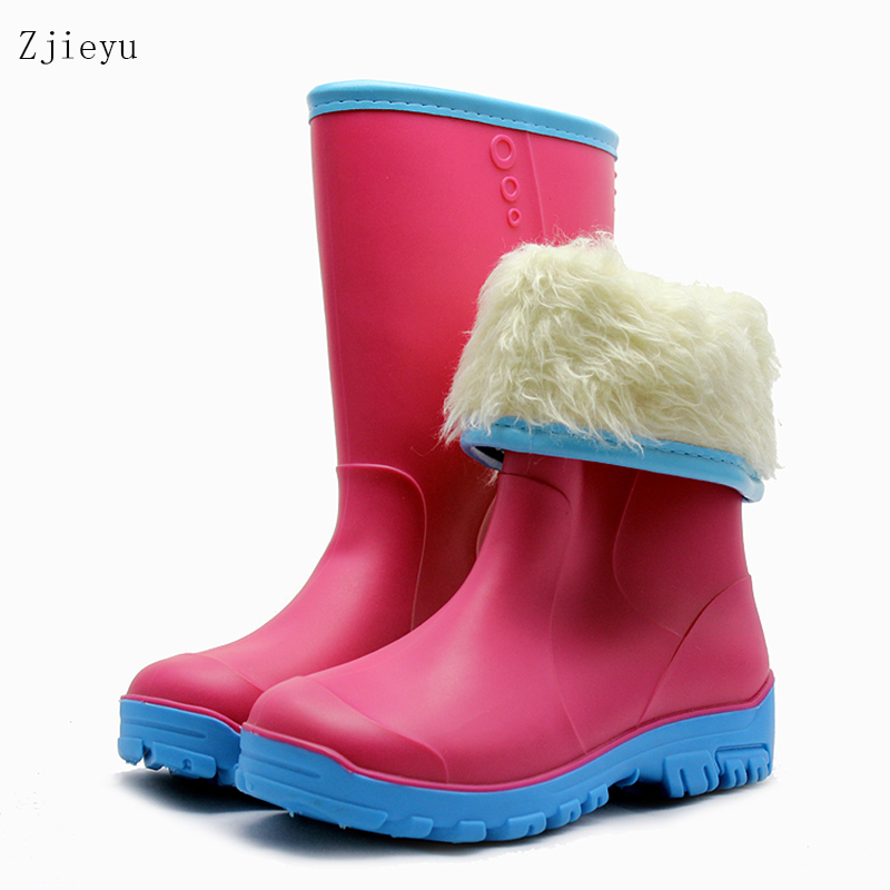 2017 ladies middle tube rain boots winter fishing boots  anti-slip bots with warm plush liner women galoshes Used after snow 2017 new anti slip women winter martin